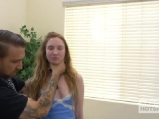 Petite shy redhead Claire Roos meets guy online for rough anal hookup